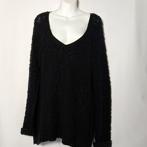 Free People Blk Boucle Slouchy Songbird Sweater  M